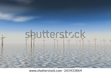 Wind farm on the water - stock photo