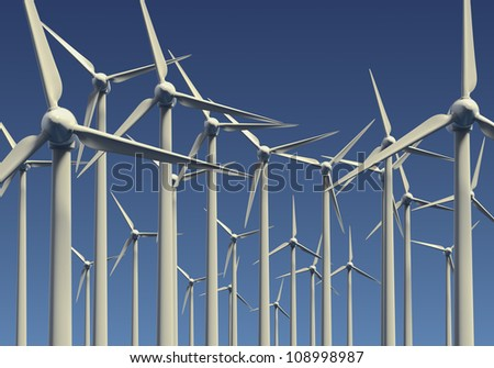 Wind farm or electrical generators against a blue sky background