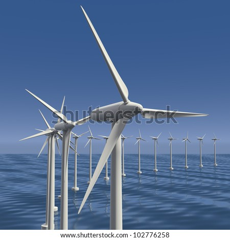 Wind farm or generators or turbines with sky at sea