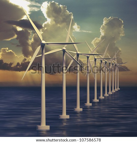 Wind farm or generators with sky at sea - stock photo
