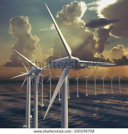 Wind farm or generators with sky at sea with stormy sky - stock photo