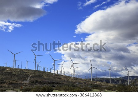 Wind farm producing Green Energy on California desert