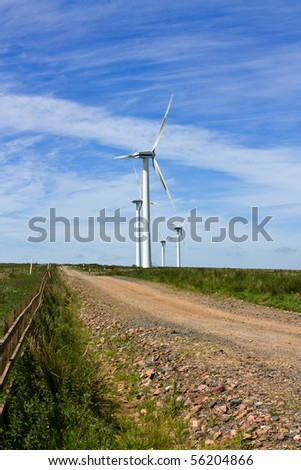 Wind farm set in the rolling hills of Fala Moor, Midlothian, Scotland.