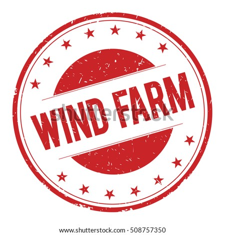 WIND-FARM stamp sign text word logo red.