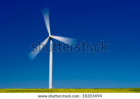 Wind farm turbine in green field over blue sky