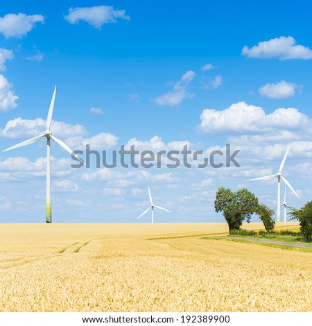 wind farm with Wind turbines on agriculture cornfiled landscape with cloudy sky - stock photo
