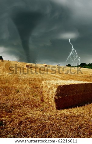 wind force hits the countryside - stock photo