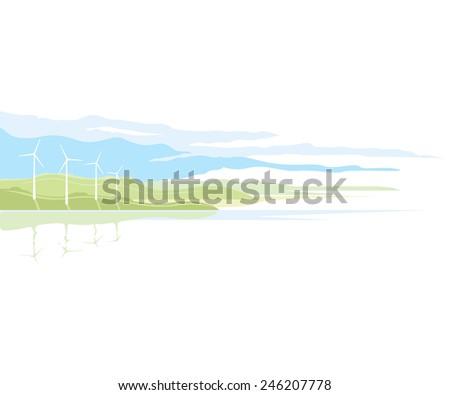 Wind generator landscape, nature landscape ecology illustration, isolated - stock photo
