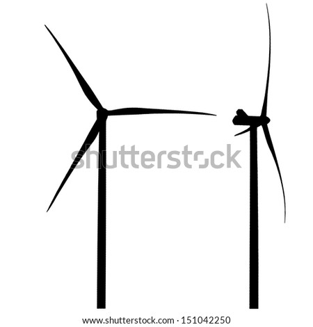 wind generators on a white background
