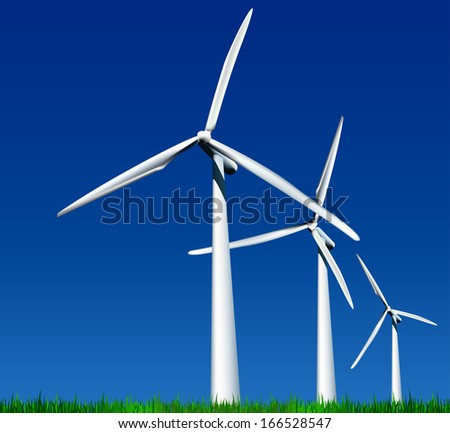 Wind Generators over sky with grass
