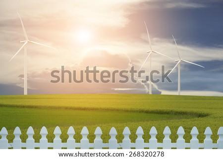 Wind generators turbines on sunset summer landscape - stock photo