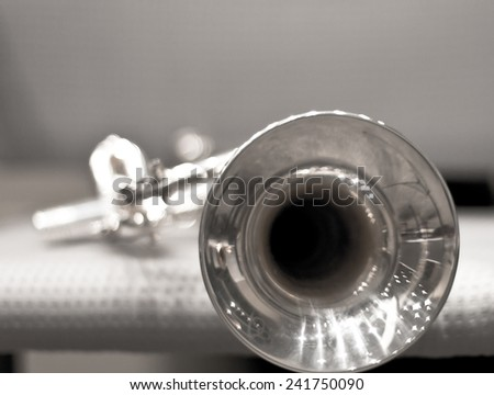wind instrument. Trumpet. Concert Hall. Wind Instruments - stock photo