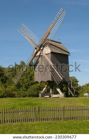 Wind mill ancient at landscape museum