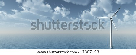 wind mill at water landscape - 3d illustration - stock photo