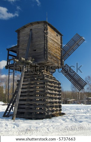 Wind mill of the north country,Russian traditional architecture