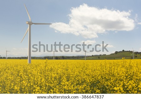 Wind mill park at rapeseed field with cloudy sky - power resources management