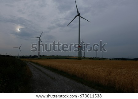 Wind mill park, somewhere in Germany on the way to the airport, Germany