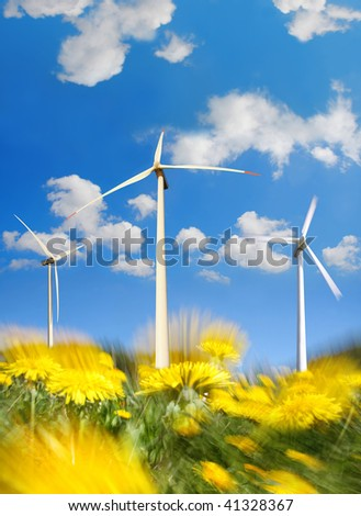 wind mills power generators with dandelions