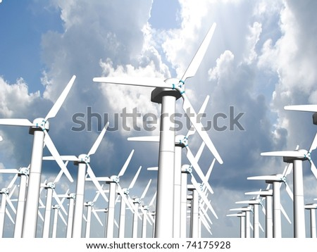 Wind mills, renewable energy. - stock photo