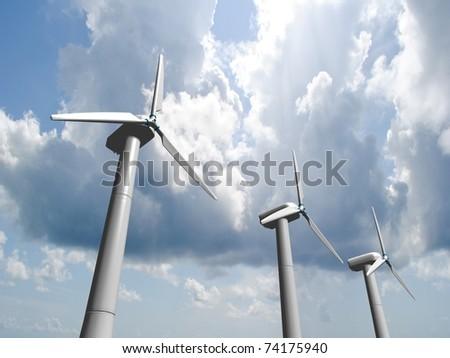 Wind mills, renewable energy. - stock photo