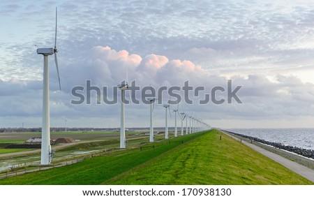 Wind park  on IJsselmeer coast, Netherlands - stock photo