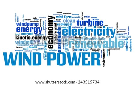 Wind power - alternative energy issues and concepts word cloud illustration. Word collage concept.
