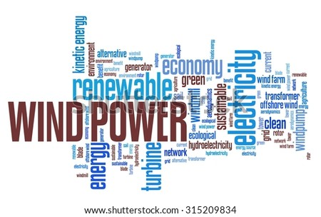 Wind power - alternative energy issues and concepts word cloud illustration. Word collage concept. - stock photo
