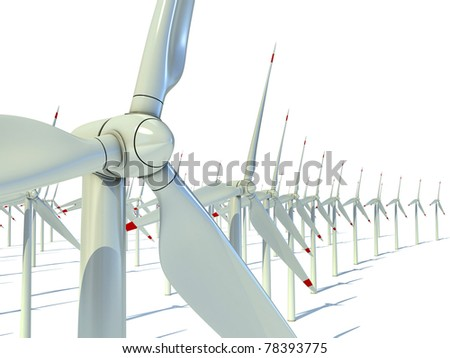 Wind power farm against white background - Power generation wind turbines - alternative energy 3d concept - stock photo