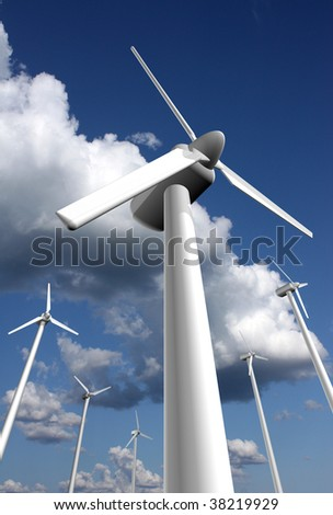 Wind power farm with sky and clouds in the background, dramatic perspective