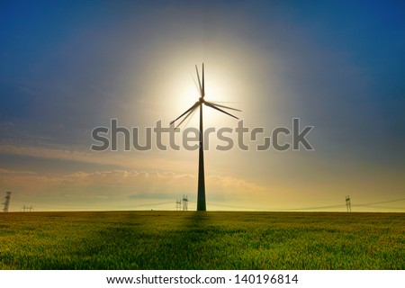 Wind power field with blue sky and white clouds - stock photo