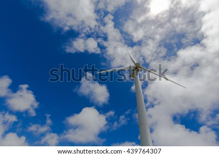 Wind power generation and blue sky