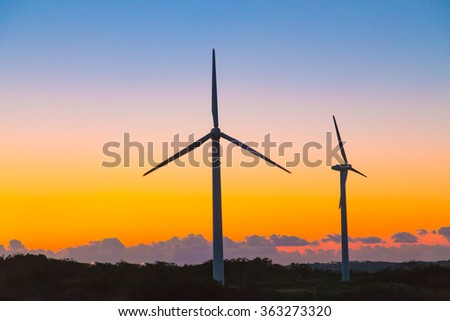 Wind power generation and sunset