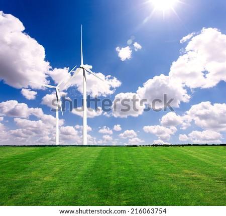 Wind power generation on the grassland - stock photo
