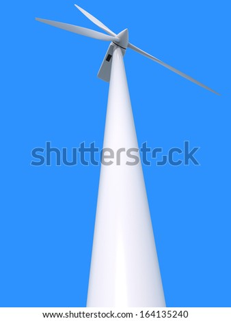 Wind power generator on blue background