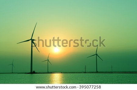 Wind power, in the sea of the sunset 