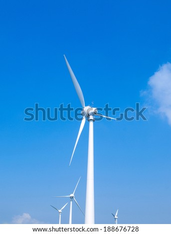 Wind power installation in sunny day