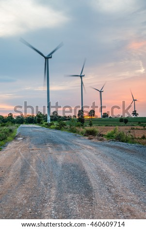 Wind power installations in agriculture the country at thailand.