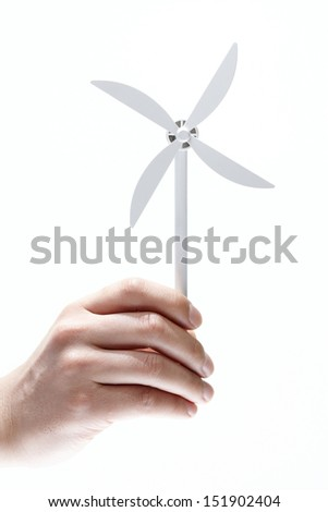 Wind power on the hand - stock photo