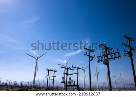 Wind power plant and blue sky