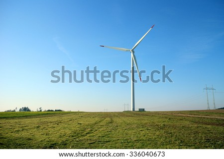 Wind power plant and power lines