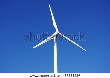 Wind power plant generating green energy. - stock photo