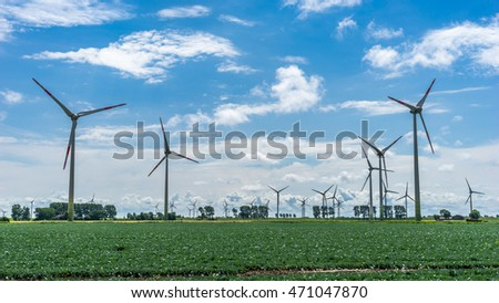 Wind power plant on a sunny summer day