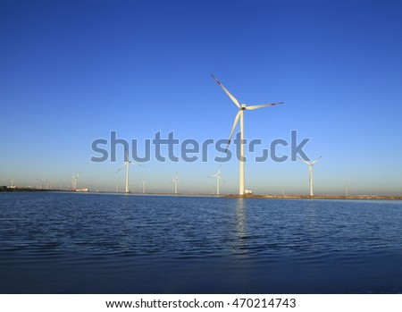 Wind power under the blue sky