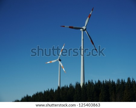 Wind power wind energy outside on a hill