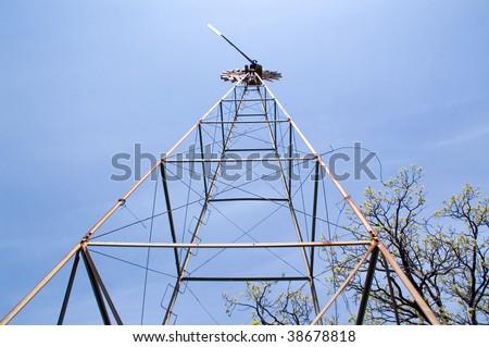 Wind pump tower - stock photo