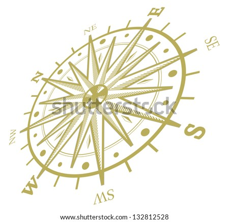 Wind rose compass isolated on white - stock photo