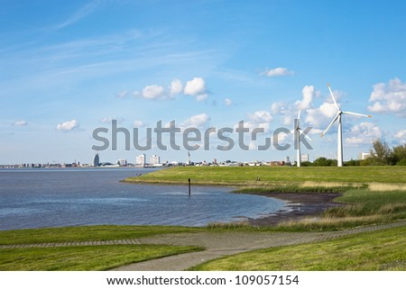 Wind station with aero generators (wind turbines) in Bremerhaven. Germany. - stock photo