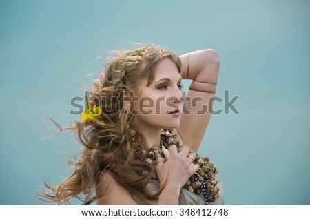 Wind storm. An allusion to the Scandinavian and Celtic mythology, portrait of mermaid. - stock photo
