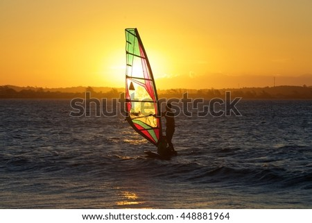 wind surf at sunset