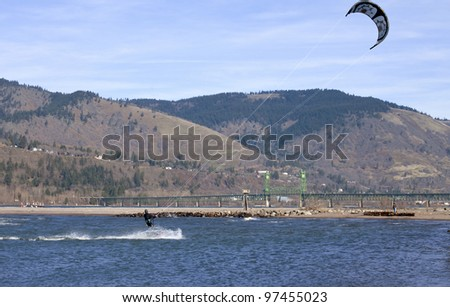 Wind surfers enjoying the pull, Columbia River Gorge OR. - stock photo